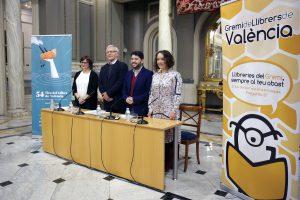 VALENCIA 12:04:37 L'alcalde de València, Joan Ribó, acompanyat de la regidora de Patrimoni i Recursos Culturals, Gloria Tello, participa en la presentació de la 54 Edició de la Fira del Llibre de València.