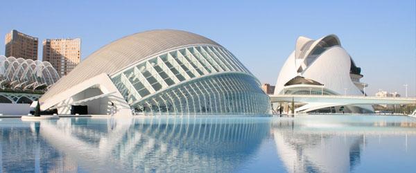 Ciudad de las Artes y las Ciencias de Valencia con el Hemisferic, Oceanografic, Museo Príncipe Felipe y Auditorio Reina Sofía